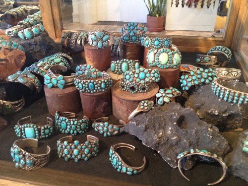 Vintage turquoise in a display case at Shiprock in Santa Fe's Plaza