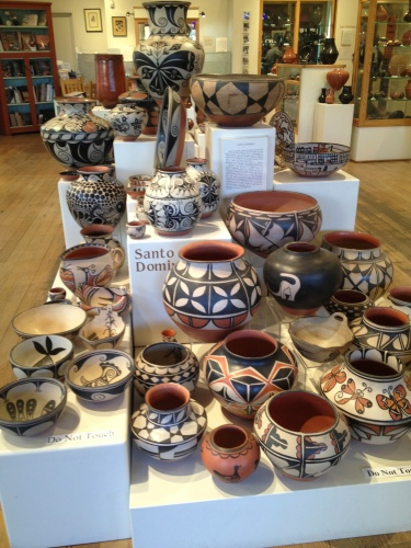 Pottery from Santo Domingo Pueblo on display at Andrea Fisher