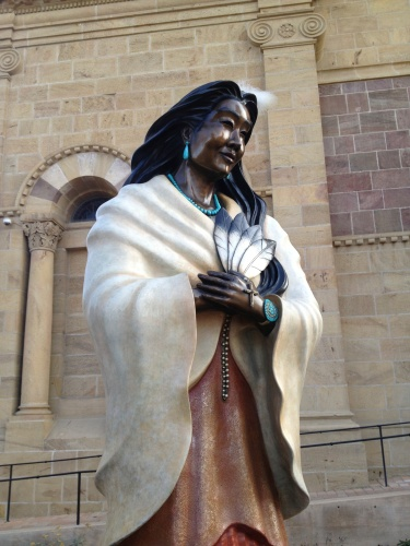 Even the statue of Kateri Tekakwitha, first Indian of North America to be promoted a saint, wears turquoise jewelry!