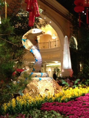 Standing guard at one of the entrances -- the icon for Chinese New Year: The Year of the Snake!