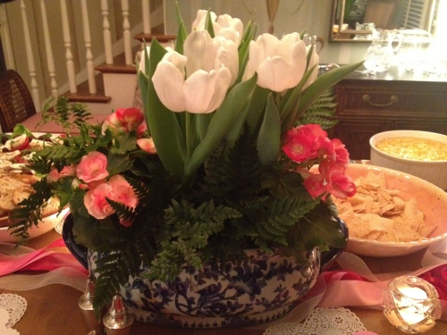 Centerpiece created by Vandy Leake anchors the bountiful table
