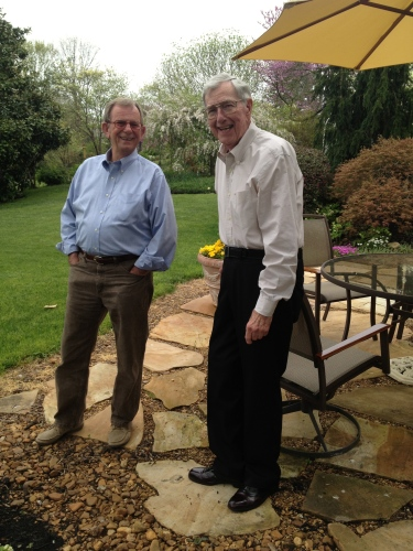 Bud Mynatt, on right, shares the history of the garden with Bert.