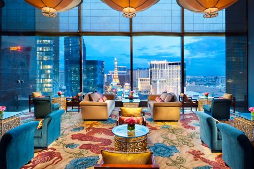 Mandarin Oriental's Tea Room looking out at the Vegas Strip (taken from web site: http://www.mandarinoriental.com/lasvegas/hotel-photo-gallery/)