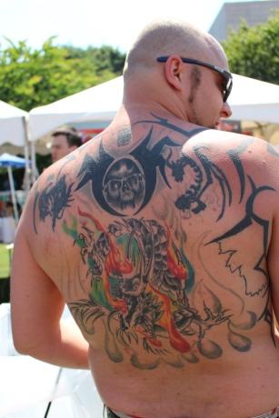 Tattooed man at Big Kahuna Festival
