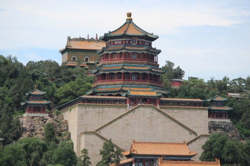 A view of Longevity Hill from the dragon boat