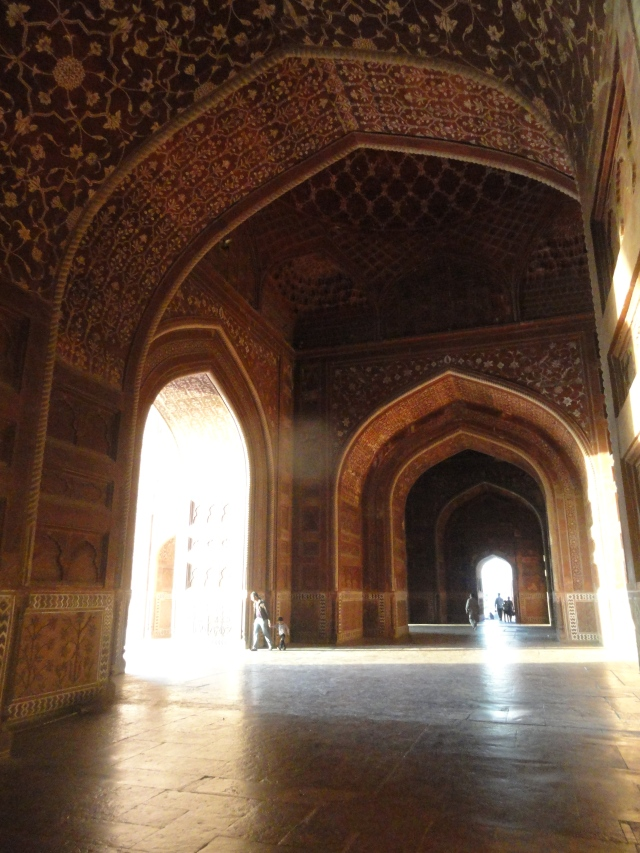 Wide hallways, tall ceilings, and detailed walls in this example of Mughal architecture.