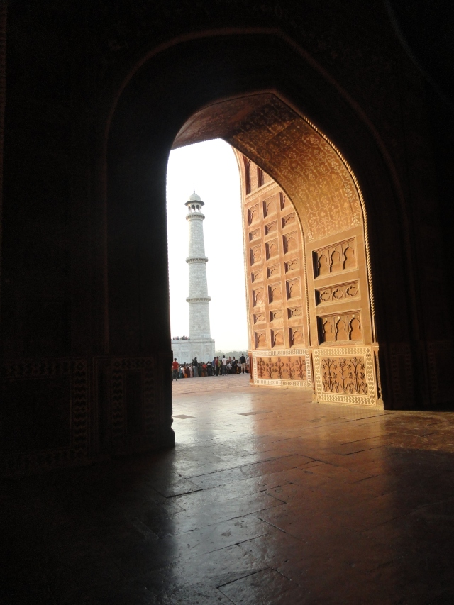 A unique view of one of the minarets at the Taj Mahal.