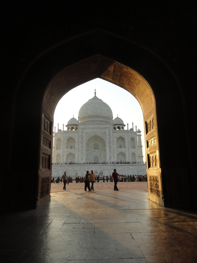 Framing the view of the Taj Mahal.
