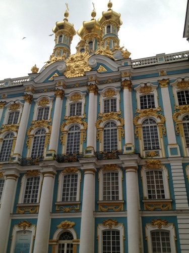 The opulent exterior of Catherine Palace near St. Petersburg.