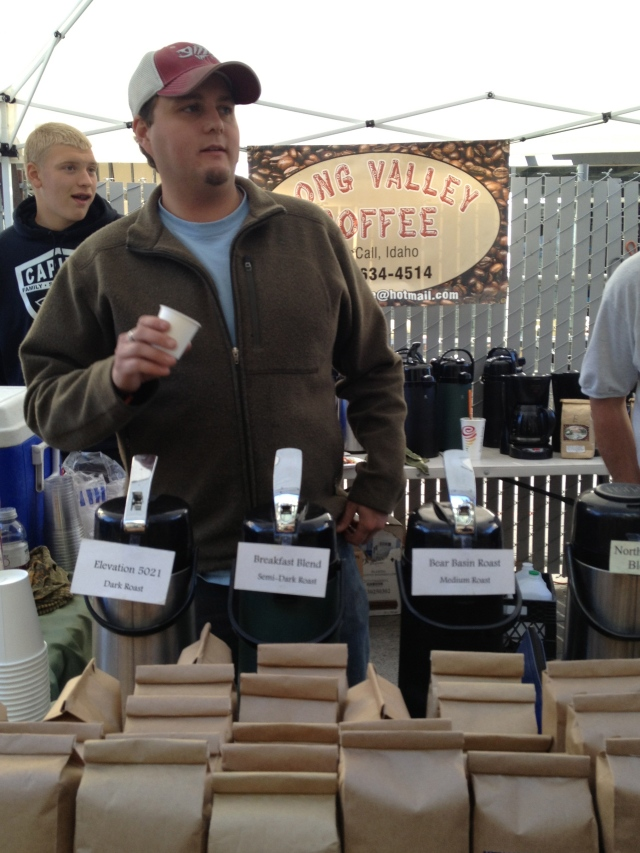 Serving Long Valley Coffee at the Boise Farmers Market