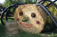 A spider hay bale greets you at Hansen's Green Bluff Orchard.