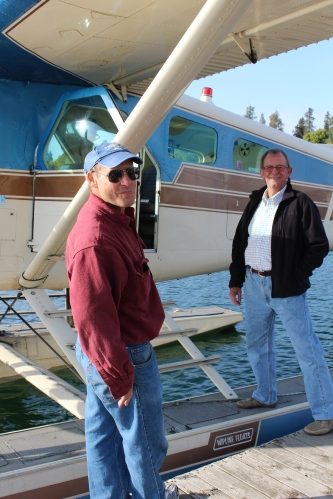 Bert, on right, boards the plane for a flight over Lake Coeur d'Alene.