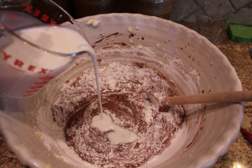 Add flour mixture alternatively with buttermilk.  Then add vanilla.