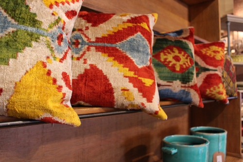 Colorful Ikat motifs lend an international feel to the furnishings at Roost.