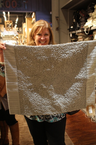 Terry Frost found a textured pale blue pillow sham among the linens at Roost.