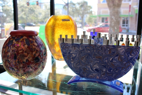 Art glass in window of Florida Craftsmen