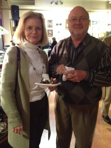 Bob & Marie Alcorn enjoyed the appetizers while admiring the art and antiques at the preview event