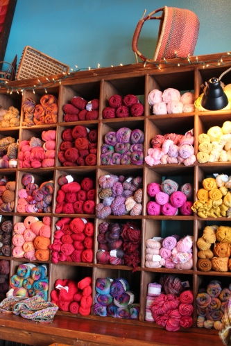 Colorful skeins all lined up