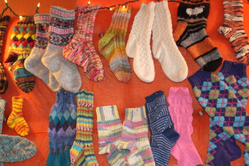 Cute:  A clothesline of knitted socks