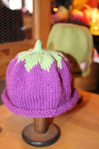 Knitted eggplant cap is now in Tennessee ready for a friend's new baby on the way!