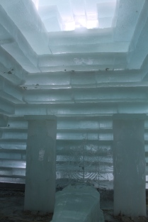 Blocks of ice stacked to the ceiling
