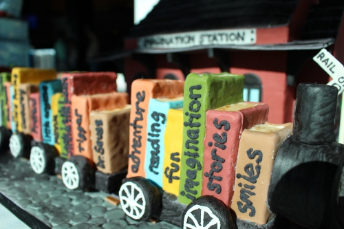 Haley McManigal's train loaded with books took 2nd Place in the All-Occasion Fondant category, Professional Division