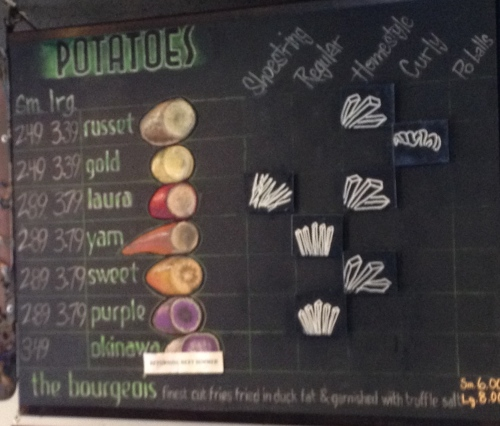 Potato menu -- Boise Fry Company