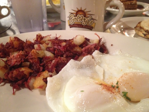 Goldy's corned beef hash with basted eggs