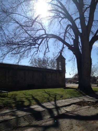 Setting sun over Old Idaho Penitentiary