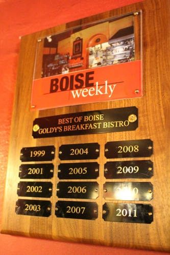 Goldy's awards from Boise Weekly