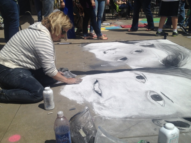 Chalk Walk: Artist using baby powder