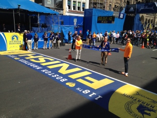 Waiting at the Finish Line for pre-race runners