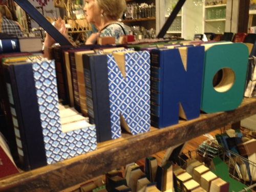 Books cut into letter shapes