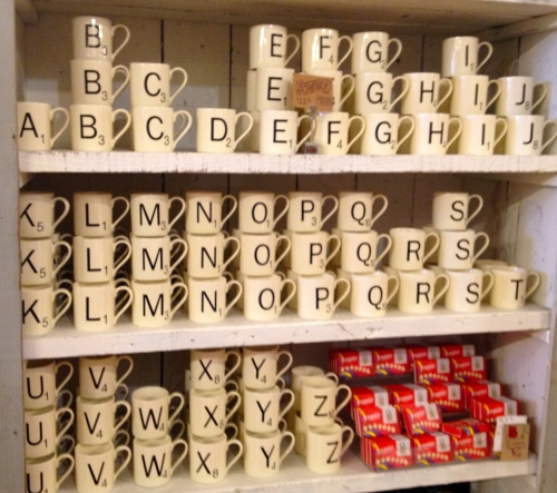 Scrabble mugs at Bliss