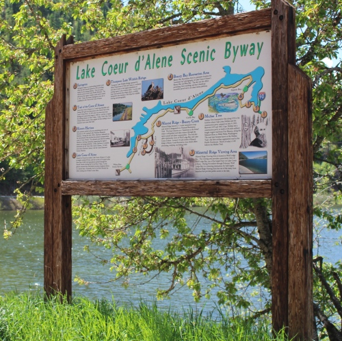 Lake Coeur d'Alene scenic byway map