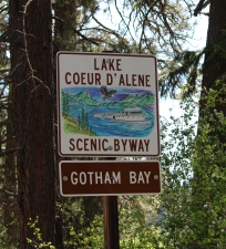 Signs indicate bays along Lake Coeur d'Alene