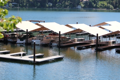 Boats stand ready on Lake Coeur d'Alene