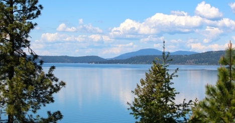 Springtime view of Lake Coeur d'Alene