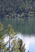 Evergreens cast long shadows on Lake Coeur d'Alene