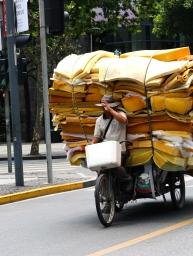 Neatly stacked & on the move