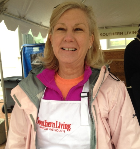 Lisa Duncan, Director of Dogwood Arts Festival, volunteers at Southern Living booth