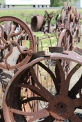Close up of wheels -- Dahmen Barn