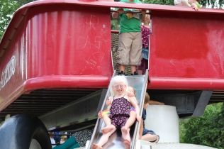 Sliding down the Red Wagon