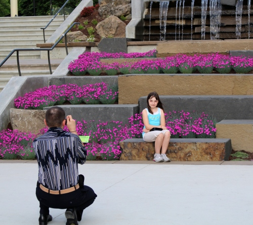 Taking pictures on City Hall Plaza