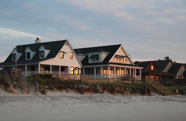 Morning sun on Pawleys beach houses