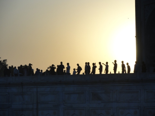 People at sundown, Taj Mahal, India