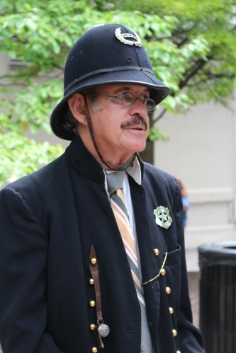 David Dinwiddie portrays a 1902 constable with original hat worn by great great uncle William Dinwiddie