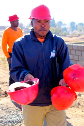 Passing out hard hats