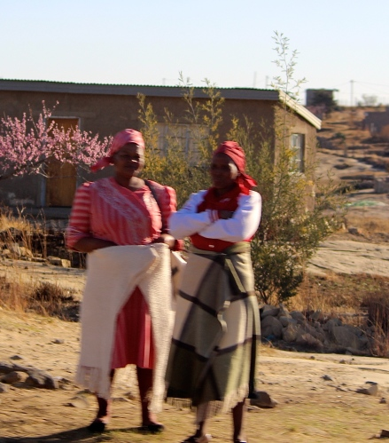 Lesotho women wearing blankets
