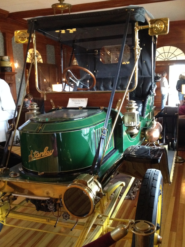 Beautifully preserved Stanley automobile, Lobby of The Stanley Hotel